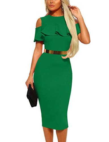 Mizoci Women's Sexy Cold Shoulder Ruffle Bodycon Evening Party Club Midi Dress,Large,Green (Green Wedding Dress)