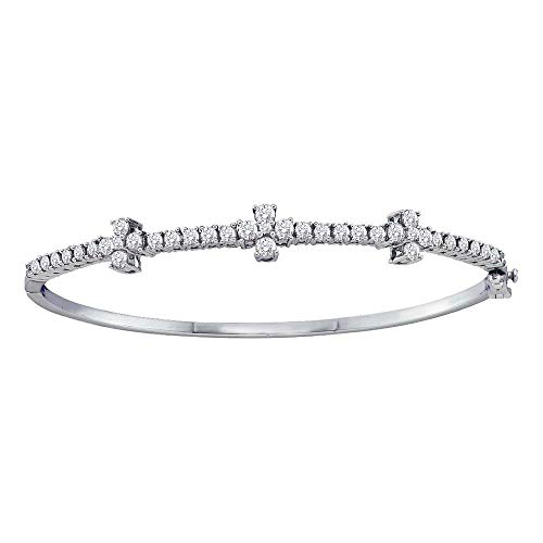 - FB Jewels 14kt White Gold Womens Round Diamond Pave-set Bangle Bracelet 1-1/2 Cttw (I1-I2 clarity; H-I color)