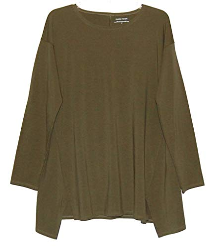 Eileen Fisher Olive Jewel Neck Stretch Jersey Tunic Size S/P