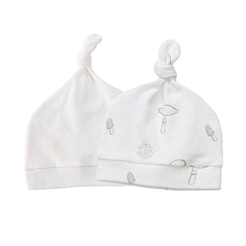 Organic Cotton Cap - Owlivia Baby Organic 2-Pack Knot Hat(Newborn,Mushroom & White)