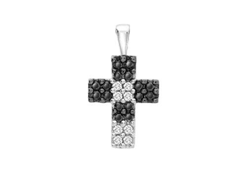 Pendentif Croix Or Blanc 9Carats Diamant Noir et Blanc