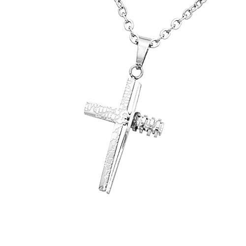 Lovoski 十字架ペンダント チェーン ネックレス フラワーパターン ステンレス鋼 全2色 - 銀の商品画像
