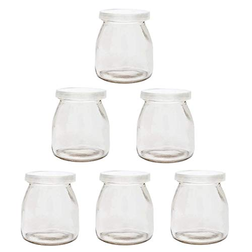 Cedmon Yoghurt Jars pudding Jar with Lid (7oz) 1set (6jars) Replacement Glass Jars for Yogurt Maker