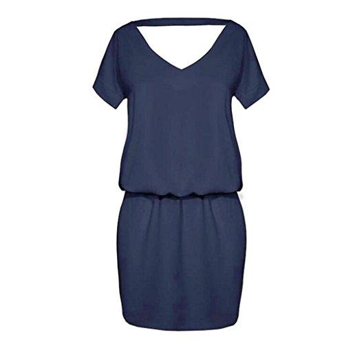 Robe Bleu Robes Sexy Femmes Mini Courtes Marine Robes Femmes Manadlian Manches Partie Backless de Court 2017 0Rg6x