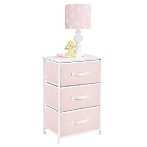 (mDesign 3-Drawer Vertical Dresser Storage Tower - Sturdy Steel Frame, Wood Top and Easy Pull Fabric Bins - Multi-Bin Organizer Unit for Child/Kids Bedroom or Nursery - Light Pink/White)
