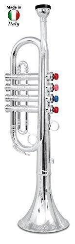 Click n' Play Metallic Silver Kids Trumpet Horn Wind Instrument with 4 Colored Keys (Fake Trumpet)