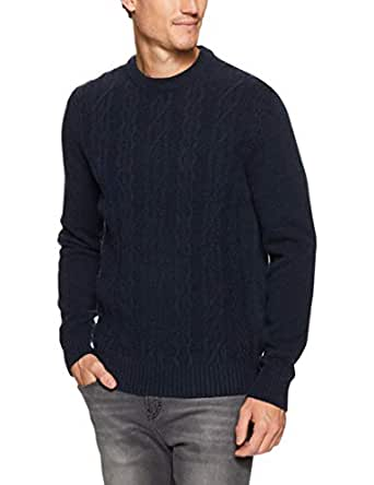 Ben Sherman Men Cable Front Crew Neck Knit, Midnight, S