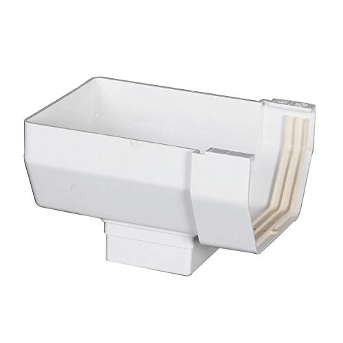 (Amerimax Contemporary 4-in x 5.875-in Half Round Gutter End with Drop)