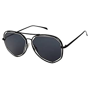 LEXSION Fashion Mirrored Flat Lenses Metal Frame Sunglasses with Felt Pouchh Black Frame Black Lens