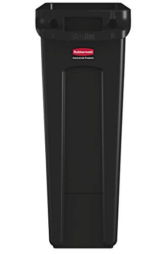 Rubbermaid Commercial Slim Jim Receptacle with Venting Channels, Rectangular, Plastic, 23 Gallons, Black (FG354060BLA) (Trash Receptacle Plastic)