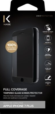 The Kase Paris Protection d'écran en verre trempé pour iPhone 7 Plus Noir