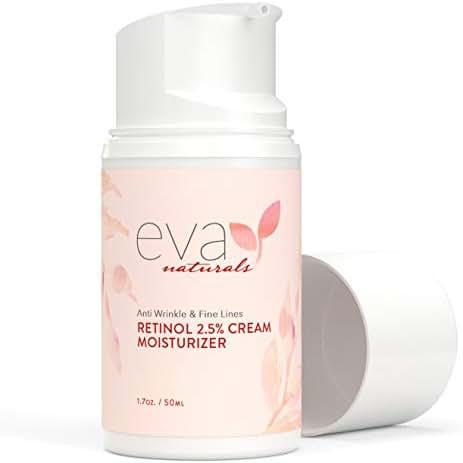 Retinol Moisturizer Cream for Face 2.5% by Eva Naturals 1.7 oz, Best Retinol Cream, Anti-Aging, Defense against Breakouts, and Deep Hydration, Retinol for Skin with Vit E, Green Tea and Jojoba Oil