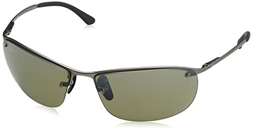 Ray-Ban RB3542 Chromance Lens Wrap Sunglasses, Gunmetal Frame/Silver Mirror Lens - Sunglasses Ban Rectangular Ray