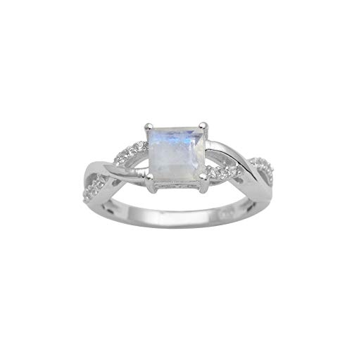 925 Silver Square Cut Moonstone Cubic Zirconia Twisted Shank Ring ()