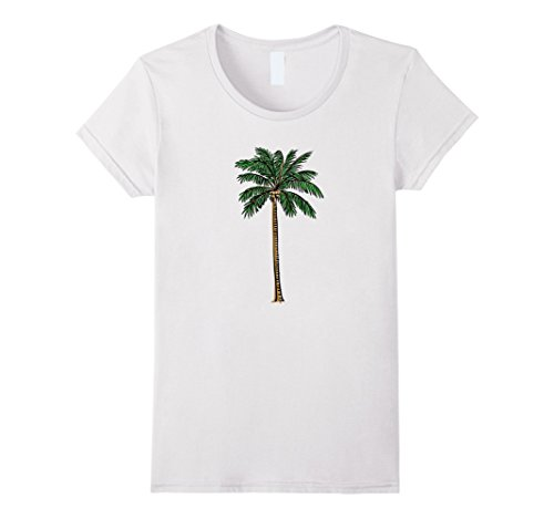 Tree Graphic - Womens Palm Tree Tee: Tropical Graphic Print Shirt XL White