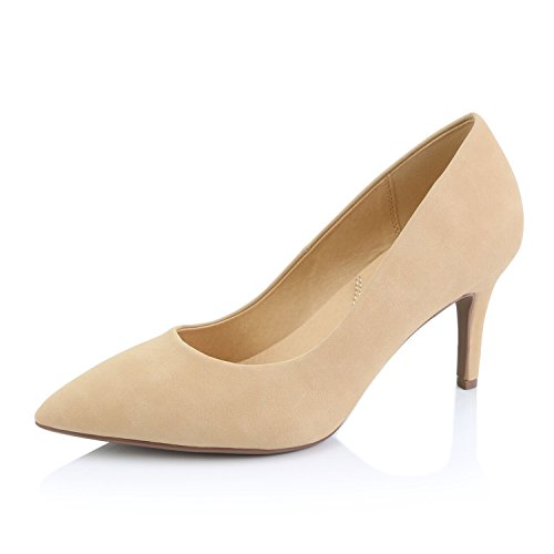 White Nubuck Shoes (DailyShoes Women's Comfortable Elegant High Cushioned Low Heels Pointy Close Toe Stiletto Pumps Shoes, Natural Nubuck PU, 6.5 B(M) US)