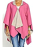 RAINRAPS Womens Fashion Water Resistant Lightweight Hooded Wrap, HOT PINK & CAMEL