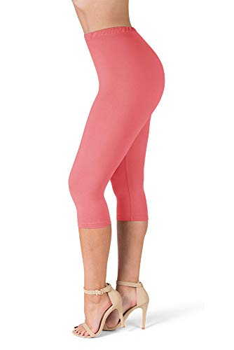 SATINA High Waisted Ultra Soft Capris Leggings - 20 Colors - Reg & Plus Size (One Size, Coral)