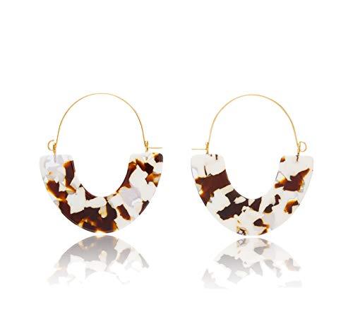 MERTH Acrylic Resin Tortoise Hoop Earrings Leopard Earrings Statement Mottled Earrings Drop and Dange Earrings Fashion Jewelry for Women (Brown Flower) ()