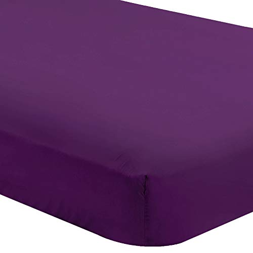 Bare Home Fitted Bottom Sheet Twin Extra Long - Premium 1800 Ultra-Soft Wrinkle Resistant Microfiber - Hypoallergenic - Deep Pocket (Twin XL, Plum)