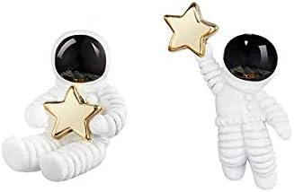 Zittop Cute Stud Earring /Astronaut Small Asymmetrical Earrings for Women Girl,1.6 X 2.2 cm