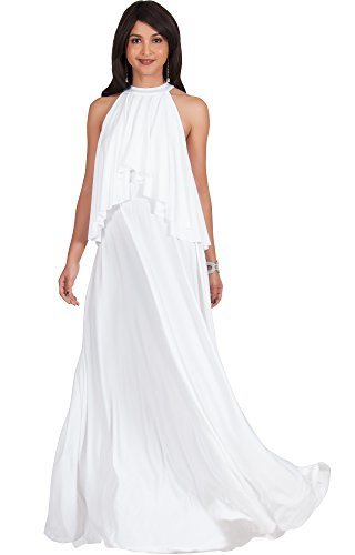KOH KOH Petite Womens Long Sleeveless Halter Neck Flowy Bridesmaid Bridal Cocktail Spring Summer Beach Wedding Party Guest Floor-Length Gown Gowns Maxi Dress Dresses, Ivory White S 4-6