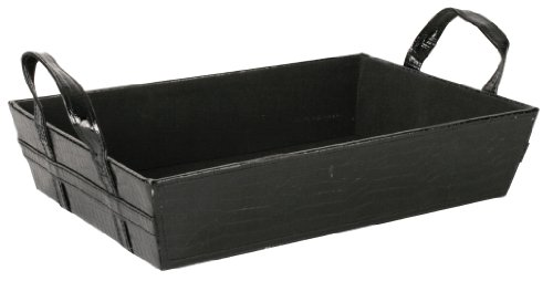 Wald Imports Faux Leather Organization Tray, Black, 14.5
