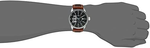 Joshua Sons Men s Unique Dial Watch – Three Large Arabic Numerals Accented Dial with Date Window On Perforated Leather Strap – JX106