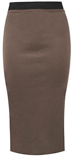 Fourreau Unie Travail Fashion Mi Bureau Moka Extensible Store My Longue Femmes Haute Taille Couleur Jupe Moulante wzqpapUt7