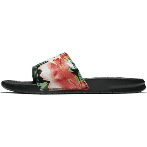 Nike Womens Benassi JDI Print Sandals Black/Crimson Tint/Green Glow 618919-019 (11 B(M) US)