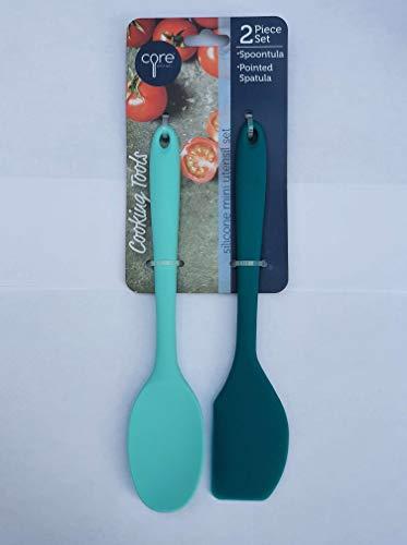 Core Kitchen Silicone 2 Piece Mini Utensil Set - Spoontula (light blue) & Pointed Spatula - Core Silicone Bamboo Classic