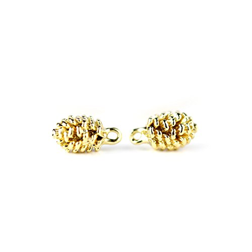 16K Gold Plated Pinecone Charm Dainty Pine Cone Necklace Supply DIY Christmas Gift - 1PPC (Gold) ()