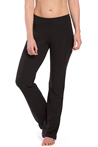 Fishers Finery Women's Ecofabric Bootleg Yoga Pant; Back Pockets (Black, M)