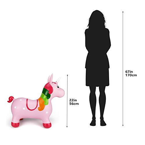Pink Unicorn Hopper, Horse Hopper, Bouncy Inflatable Animal Ride-on Toy for Children, Boys and Girls, Toddlers (Pump Included) by Pulei (Image #4)