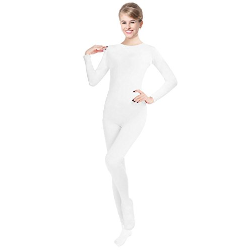 Unisex Lycra Spandex Unitard Round Neck Long Sleeves Full Foot Elastane Bodysuit (L(5'5-5'9/132-154LB), White) - Full Bodysuit Costume