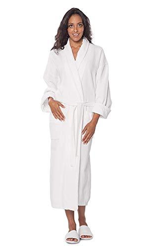 Turquaz Linen 100% Turkish Cotton White Waffle Kimono Unisex Spa Robe (One Size) (Robes Spa)
