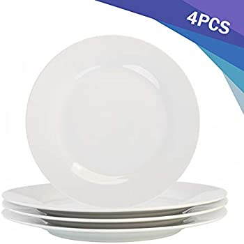 Porcasa Porcelain Plates, White Round Dinner Plates, 10.5 inch, Set of 4