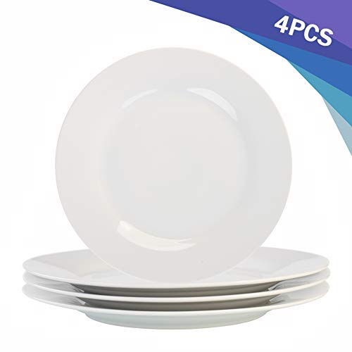 Porcasa Porcelain Plates, White Round Flat Dinner Plates, 10.5 inch, Set of 4