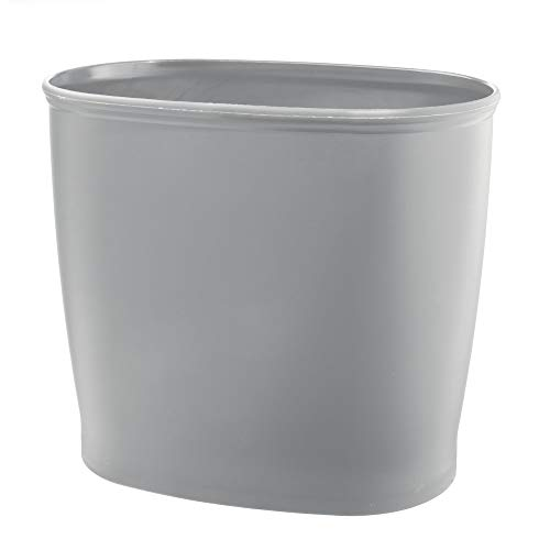 mDesign Modern Oval Plastic Small Trash Can Wastebasket, Garbage Container Bin for Bathroom, Kitchen, Laundry Room, Home Office, Dorms - Gray
