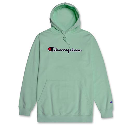 (Champion Mens Big and Tall Hoodie Sweatshirt with Embroidered Script Logo Mint 5X)