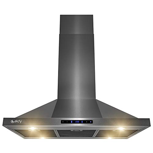 AKDY Island Mount Range Hood – Black Stainless Steel Hood for Kitchen – 3 Speed Professional Quiet Motor – Premium Touch Control Panel – Minimalist Design (36 in.)
