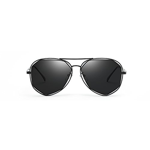 Moda Gafas Protección Mujeres Color Calle Irregulares Black Personalidad UV sol Plata La Gafas Metal WLHW de Poligonal rwqr8X