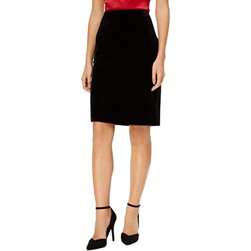 Kasper Women's Velvet Elastic Waist Skirt, Black 10