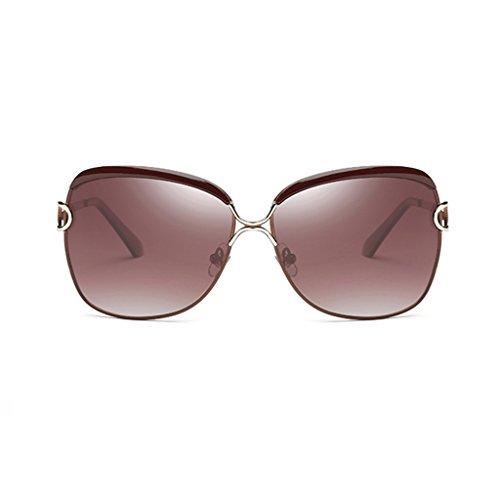 Estilo sol Color Gafas la Manera Wayfarer polarizado de Mujer Retro 64mm Mujeres polarizadas Gafas Calle Brown Brown de con aqYRwq
