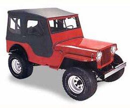 Bestop-51403-01-Black-Crush-Tigertop-Complete-Replacement-Soft-Top-with-Clear-Windows-Includes-doors-for-1948-1953-Jeep-CJ-3A