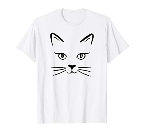 (Cute Cat Face Black Vector Line Art Kitty Tshirt)