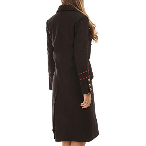 Manteau La Officier Long Boutons Style Avec Modeuse Noir 55wzx6rvq