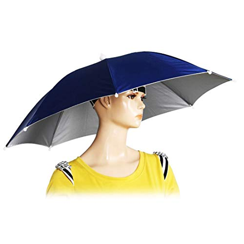 Chinmor 26' Diameter Elastic Band Fishing Headwear Umbrella Hat Dark Blue