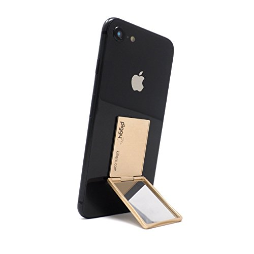 (Flip Stand (aka Piggy Pro) Adjustable Phone Stand & Grip with Compact Mirror, Compatible with Magnet Car Mount (Gold))