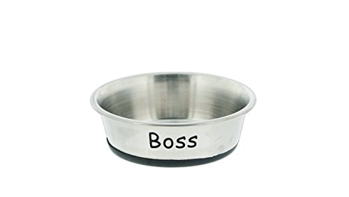 (Personalized Stainless Steel Bowl with Rubber Base (9 oz., Stainless Steel))